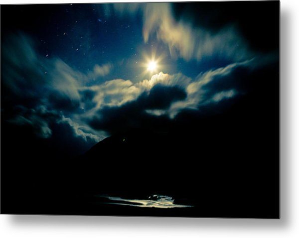 Night Sky And Moon Himalyan Metal Print