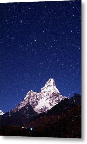 Night Sky Over Mountains Metal Print