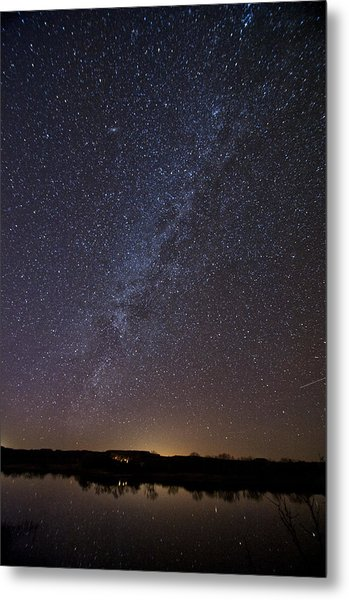 Night Sky Reflected In Lake Metal Print