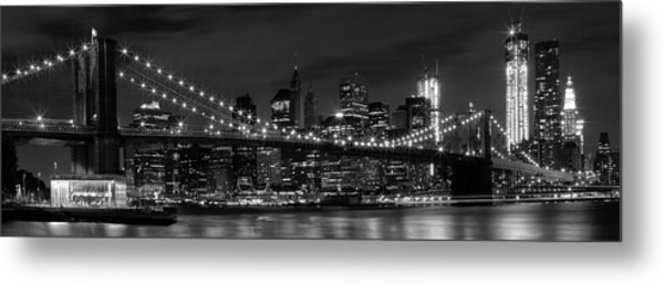 Night-skyline New York City Bw Metal Print