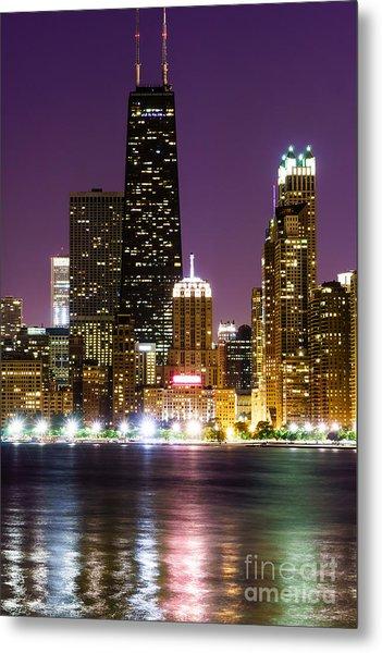 Night Skyline Of Chicago Metal Print