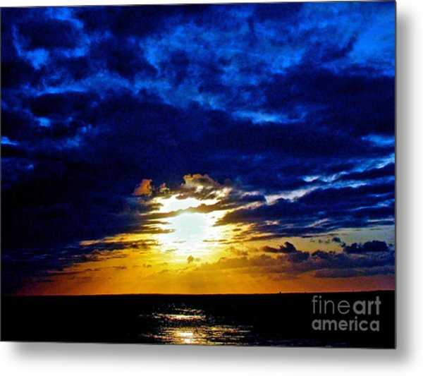 Night Surrounds The Sun Metal Print by Q's House of Art ArtandFinePhotography