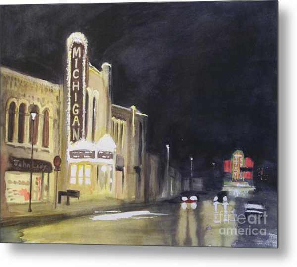 Night Time At Michigan Theater - Ann Arbor Mi Metal Print