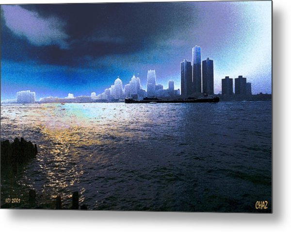 Night Time On The Detroit River Metal Print