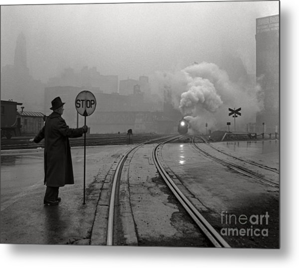 Night Train Thru Fog Metal Print