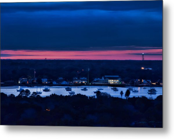 Night View Of St. Augustine Bayfront South Metal Print