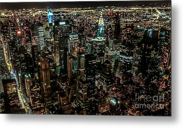 Night View From Empire State Building Metal Print by Kim Lessel