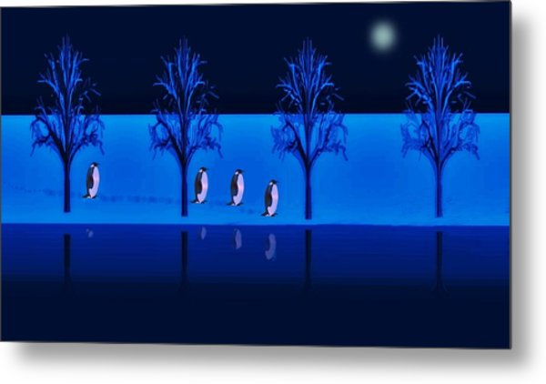 Night Walk Of The Penguins Metal Print
