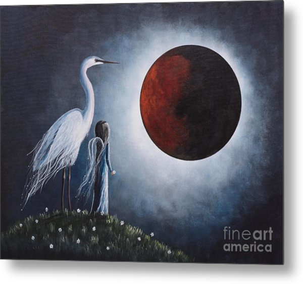 Night With The Great Egret By Shawna Erback Metal Print