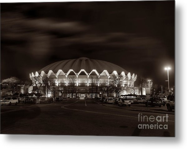 night WVU Coliseum basketball arena Metal Print