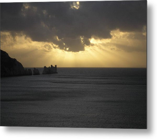 Nightfall At The Needles Point In The Isle Of Wight Metal Print