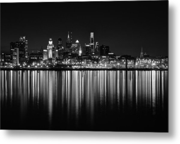 Nightfall In Philly B/w Metal Print