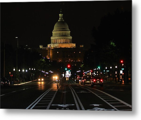 Nightime On Capitol Hill Metal Print by DustyFootPhotography
