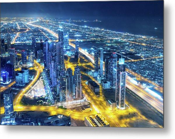 Nightlife In Dubai Metal Print by Valentinrussanov