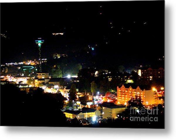 Nightlight In Gatlinburg Metal Print