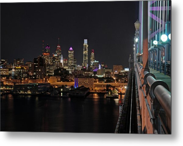 Nighttime Philly From The Ben Franklin Metal Print