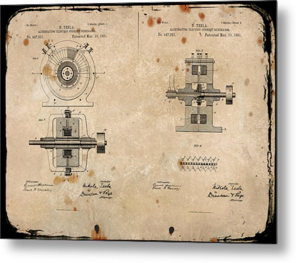 Nikola Tesla's Alternating Current Generator Patent 1891 Metal Print