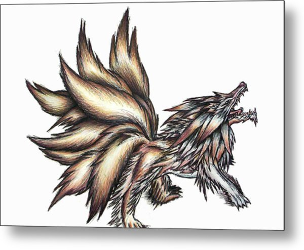 Nine Tails Wolf Demon Metal Print