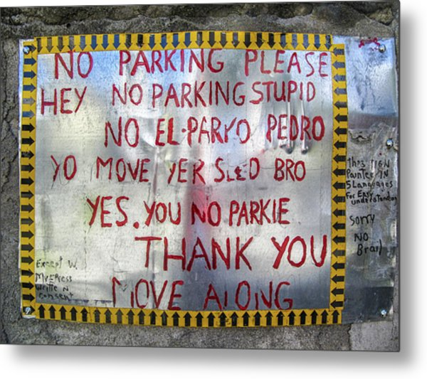 No El Parko Pedro Sign Metal Print