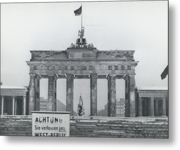No Passing-papers For West-berlins Inhabitants Metal Print by Retro Images Archive