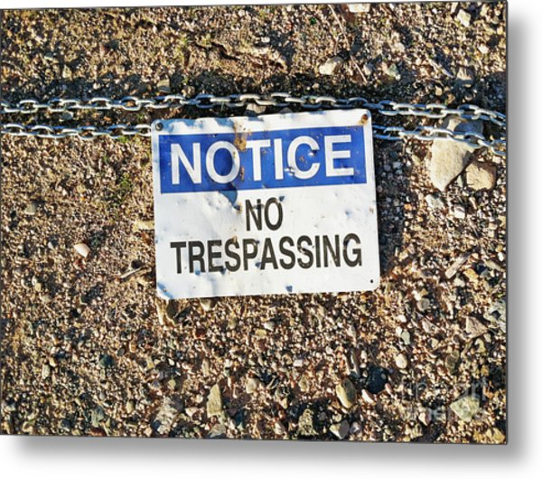 No Trespassing Sign On Ground Metal Print