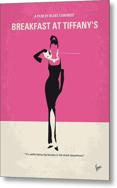 No204 My Breakfast At Tiffanys Minimal Movie Poster Metal Print