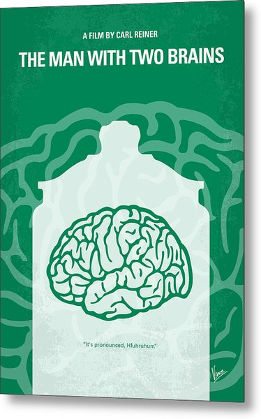 No390 My The Man With Two Brains Minimal Movie Poster Metal Print