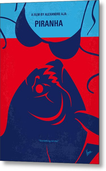 No433 My Piranha Minimal Movie Poster Metal Print