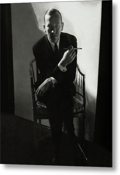 Noel Coward Smoking Metal Print
