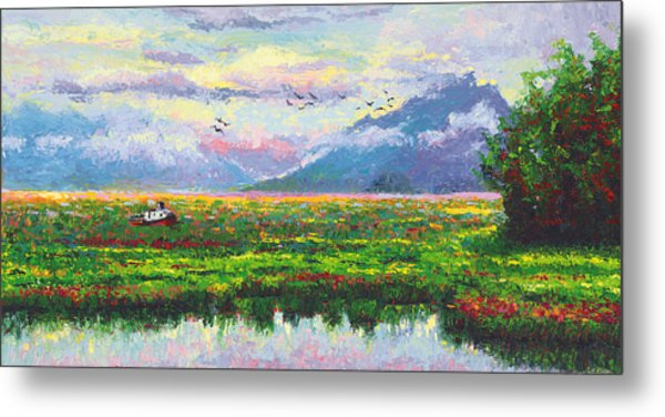 Nomad - Alaska Landscape With Joe Redington's Boat In Knik Alaska Metal Print