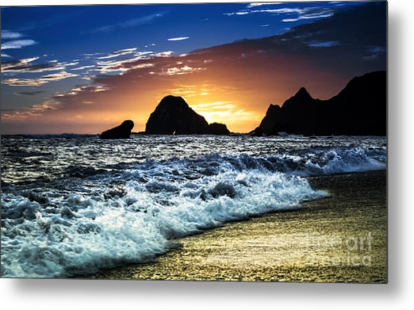 Norcal Sunset On Jenner Beach Metal Print