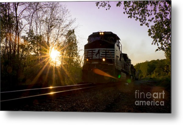 Norfolk And Southern At Sunset Metal Print