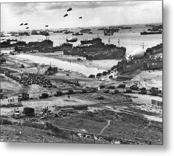 Normandy Beach Supplies Metal Print