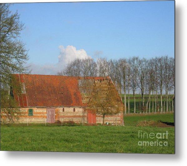 Normandy Storm Damaged Barn Metal Print