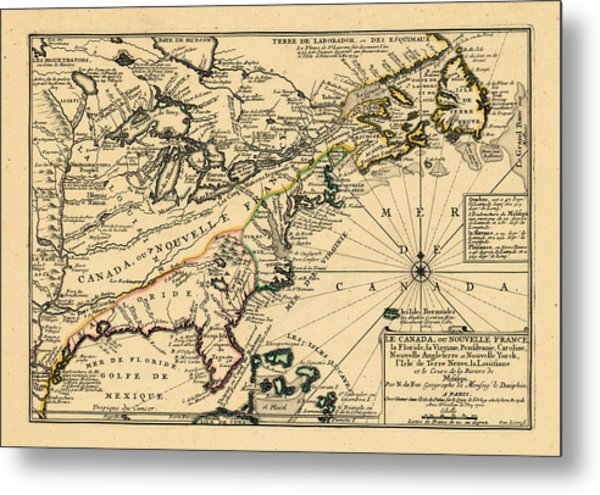North America, United States, New York, Canada, Pennsylvania, Virginia, North Carolina, 1702 Metal Print by Historic Map Works LLC and Osher Map Library