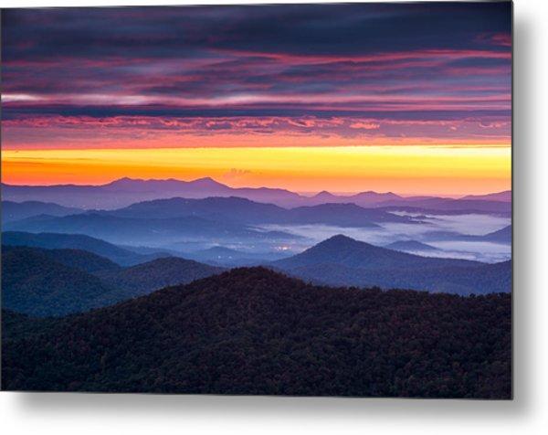 North Carolina Blue Ridge Parkway Nc Autumn Twilight Metal Print by Dave Allen