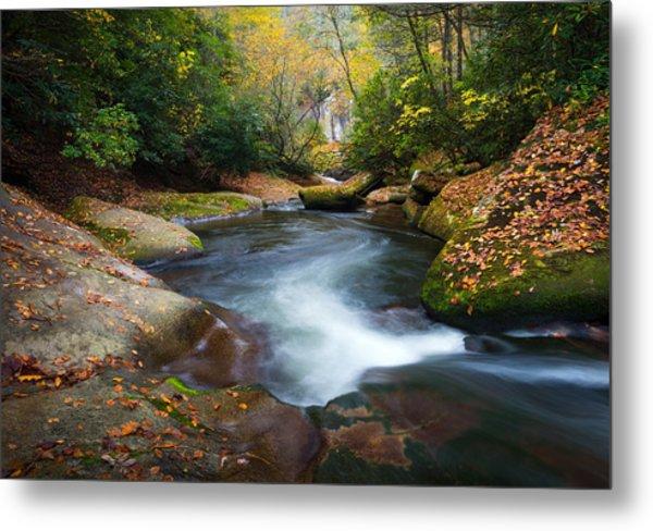 North Carolina Mountain River In Autumn Fall Foliage Metal Print
