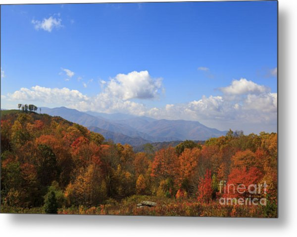 North Carolina Mountains In The Fall Metal Print