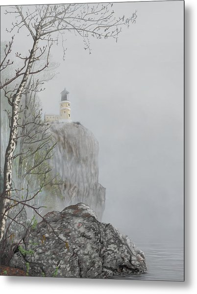 North Shore Lighthouse In The Fog Metal Print