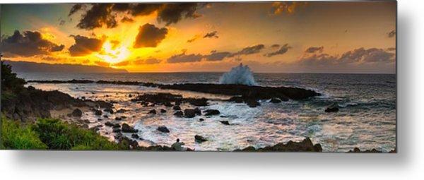 North Shore Sunset Crashing Wave Metal Print