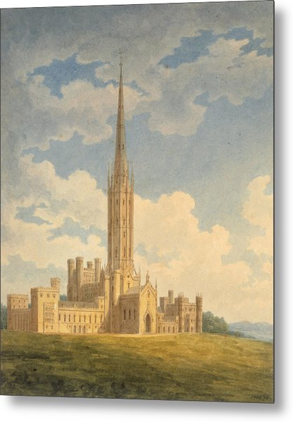 North-west View Of Fonthill Abbey Metal Print