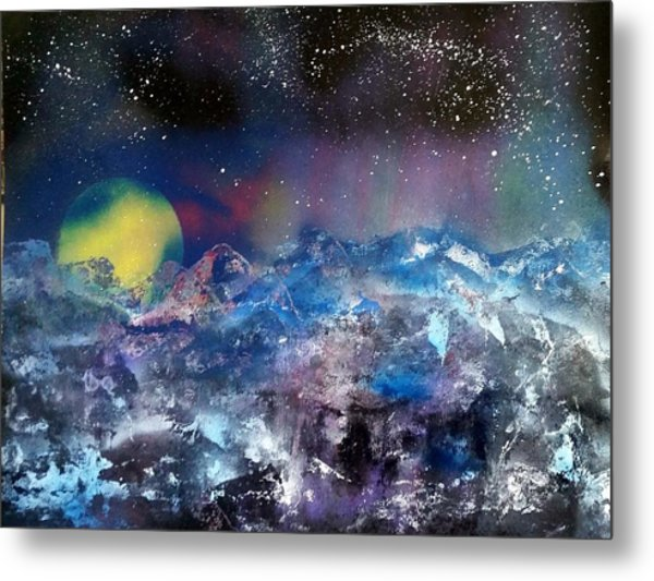 Northern Lights Reflection Metal Print