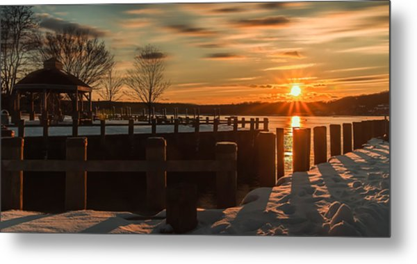 Northport New York Winter Sunset Metal Print