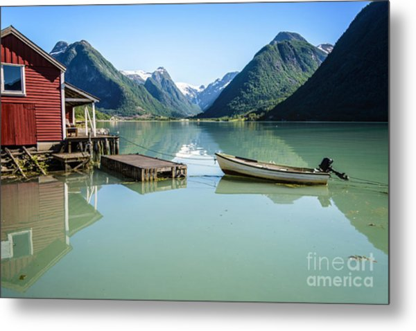 Reflection Of A Boat And A Boathouse In A Fjord In Norway Metal Print