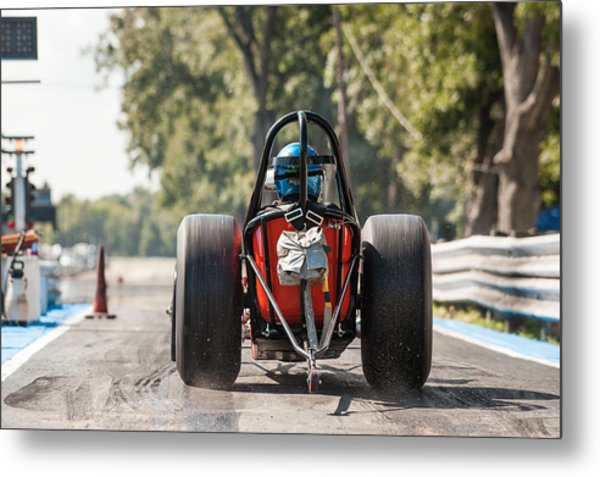 Nostalgia Front Engine Dragster Burnout Metal Print