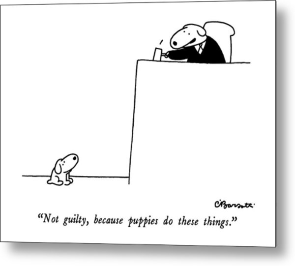 Not Guilty, Because Puppies Do These Things Metal Print