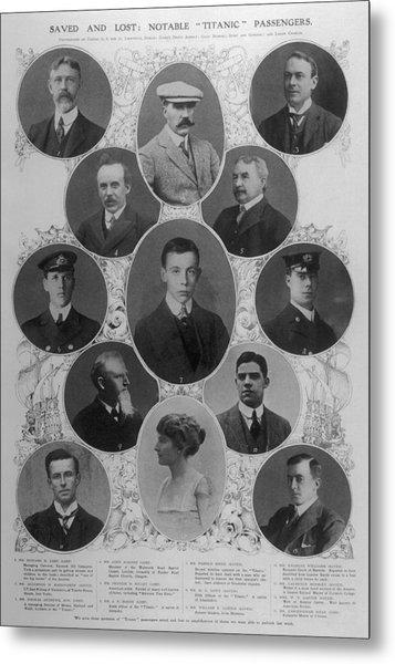 Notable Passengers On The  Titanic 1 Metal Print