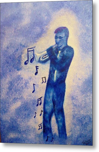 Notes Of Blue Metal Print