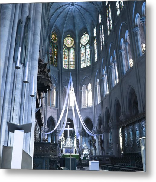 Notre Dame Altar Teal Paris France Metal Print