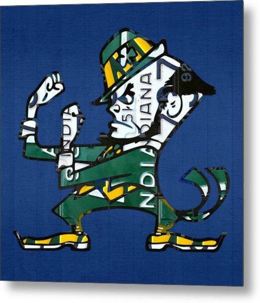 Notre Dame Fighting Irish Leprechaun Vintage Indiana License Plate Art  Metal Print